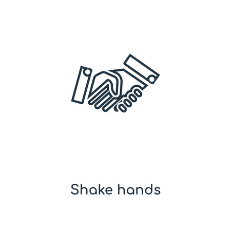 Shake hands concept line icon. Linear Shake hands concept outline symbol design. This simple element illustration can be used for web and mobile UI/UX.