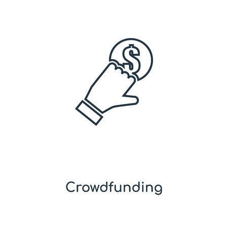 Crowdfunding-Konzept Symbol Leitung. Lineares Crowdfunding-Konzept skizziert Symboldesign. Diese einfache Elementillustration kann für Web- und mobile UI/UX verwendet werden.