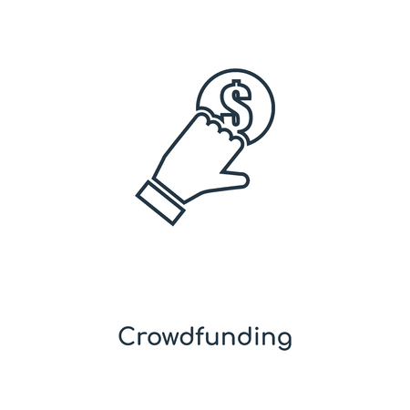 Crowdfunding concept line icon. Linear Crowdfunding concept outline symbol design. This simple element illustration can be used for web and mobile UI/UX.