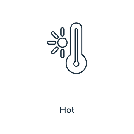 Hot concept line icon. Linear Hot concept outline symbol design. This simple element illustration can be used for web and mobile UIUX.