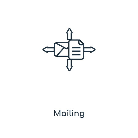 Mailing concept line icon. Linear Mailing concept outline symbol design. This simple element illustration can be used for web and mobile UI/UX. Illusztráció
