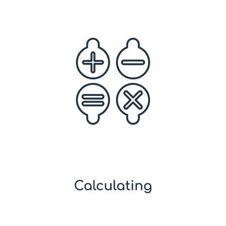 Calculating Symbol concept line icon. Linear Calculating Symbol concept outline symbol design. This simple element illustration can be used for web and mobile UIUX.