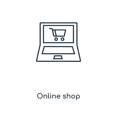 Online shop concept line icon. Linear Online shop concept outline symbol design. This simple element illustration can be used for web and mobile UI/UX. Illustration