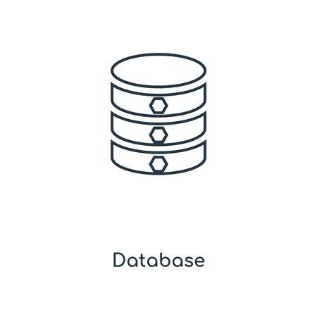 Database concept line icon. Linear Database concept outline symbol design. This simple element illustration can be used for web and mobile UIUX. Çizim