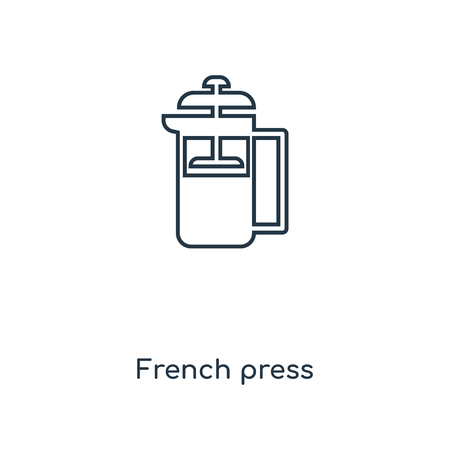 French press concept line icon. Linear French press concept outline symbol design. This simple element illustration can be used for web and mobile UIUX.