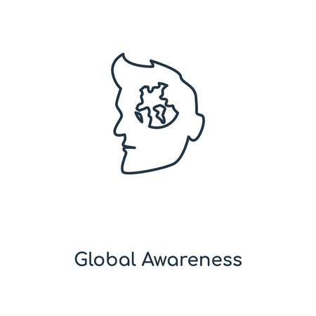 Global Awareness concept line icon. Linear Global Awareness concept outline symbol design. This simple element illustration can be used for web and mobile UI/UX.