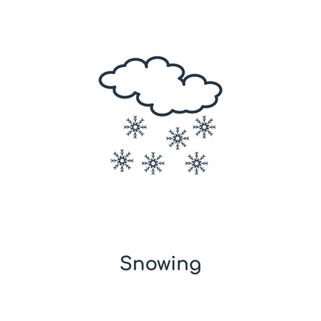 Snowing concept line icon. Linear Snowing concept outline symbol design. This simple element illustration can be used for web and mobile UI/UX. Иллюстрация