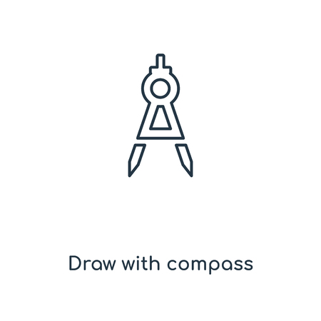Draw with compass concept line icon. Linear Draw with compass concept outline symbol design. This simple element illustration can be used for web and mobile UIUX.