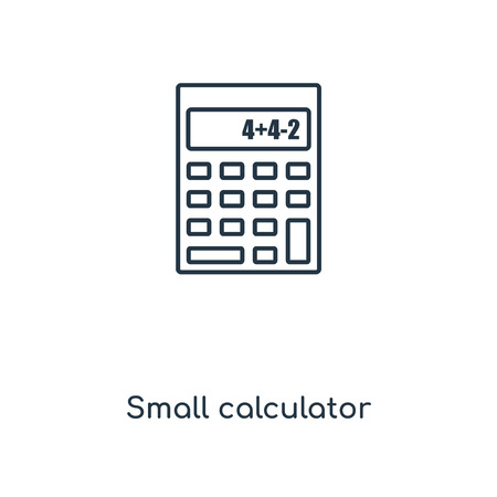 Small calculator concept line icon. Linear Small calculator concept outline symbol design. This simple element illustration can be used for web and mobile UIUX. Illustration