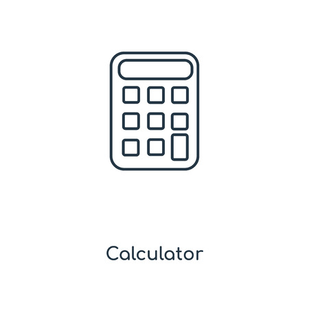 Calculator concept line icon. Linear Calculator concept outline symbol design. This simple element illustration can be used for web and mobile UIUX. Illustration
