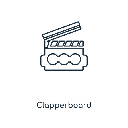 Clapperboard concept line icon. Linear Clapperboard concept outline symbol design. This simple element illustration can be used for web and mobile UI/UX.