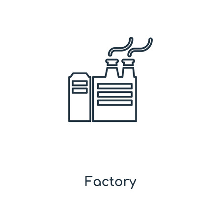 Factory concept line icon. Linear Factory concept outline symbol design. This simple element illustration can be used for web and mobile UIUX. Ilustração