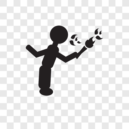 Fire eater man vector icon isolated on transparent background, Fire eater man transparency logo concept