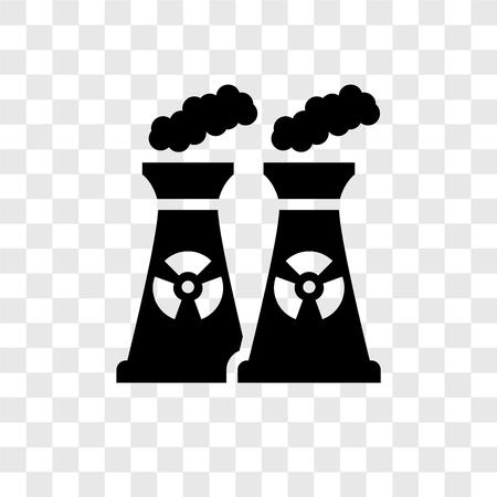 Icône de vecteur de centrale nucléaire isolé sur fond transparent, notion de logo de transparence centrale nucléaire Logo