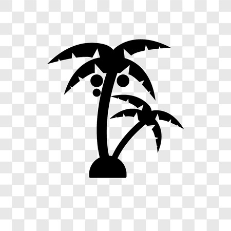 Palm tree vector icon isolated on transparent background, Palm tree transparency logo concept