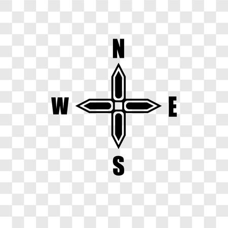 Points cardinaux sur l'icône de vecteur d'étoile de vents d'isolement sur le fond transparent, points cardinaux sur la notion de logo de transparence d'étoile de vents Logo