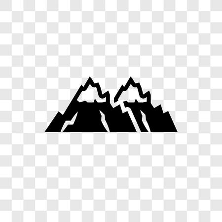Icono de vector de montañas nevadas aislado sobre fondo transparente, concepto de logo de transparencia de montañas nevadas