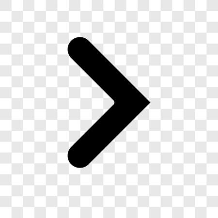 Icône de vecteur de flèche droite isolé sur fond transparent, notion de logo de transparence flèche droite