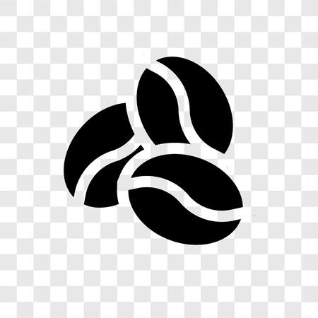 Icona di vettore del chicco di caffè isolato su sfondo trasparente, concetto di logo di trasparenza del chicco di caffè