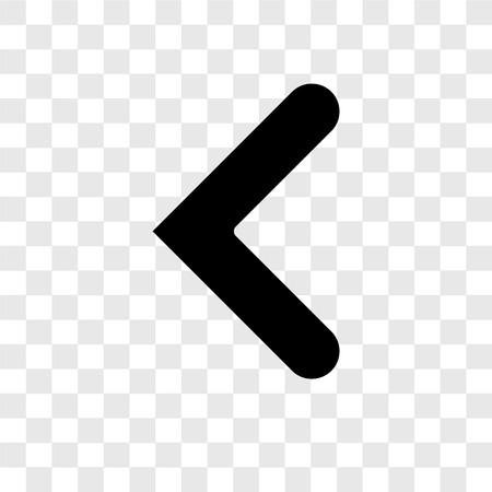 Icono de vector de flecha izquierda aislado sobre fondo transparente, concepto de logo de transparencia de flecha izquierda