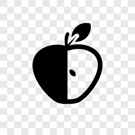 Half Apple vector icon isolated on transparent background, Half Apple transparency logo concept