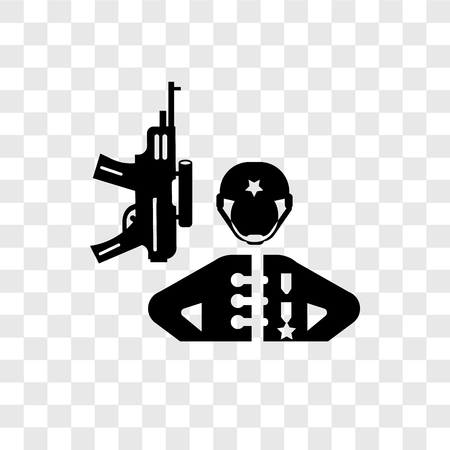 Soldiers and a weapon vector icon isolated on transparent background, Soldiers and a weapon transparency logo concept Vectores
