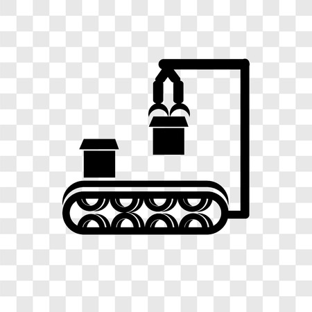 Conveyor vector icon isolated on transparent background, Conveyor transparency logo concept Ilustração
