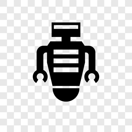 Robot vector icon isolated on transparent background, Robot transparency logo concept