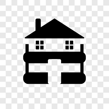 Cabin vector icon isolated on transparent background, Cabin transparency logo concept