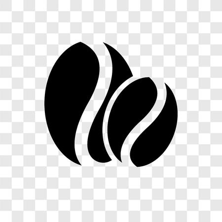 Icône de vecteur de grains de café isolé sur fond transparent, concept de logo de transparence des grains de café