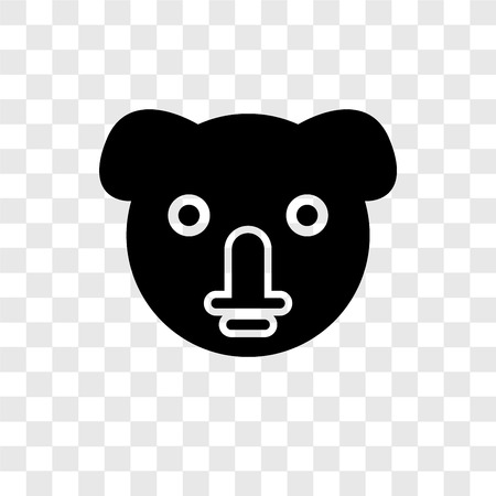 Koala vector icon isolated on transparent background, Koala transparency logo concept