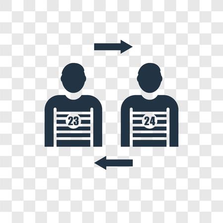 Icono de vector de sustitución de jugador aislado sobre fondo transparente, concepto de logo de transparencia de sustitución de jugador Logos