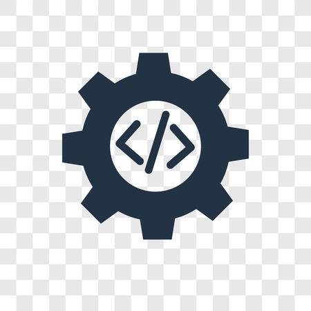 Icono de vector de codificación aislado sobre fondo transparente, concepto de logo de transparencia de codificación