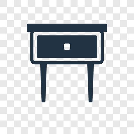 Nachttisch-Vektor-Symbol auf transparentem Hintergrund isoliert, Nachttisch-Transparenz-Logo-Konzept Logo