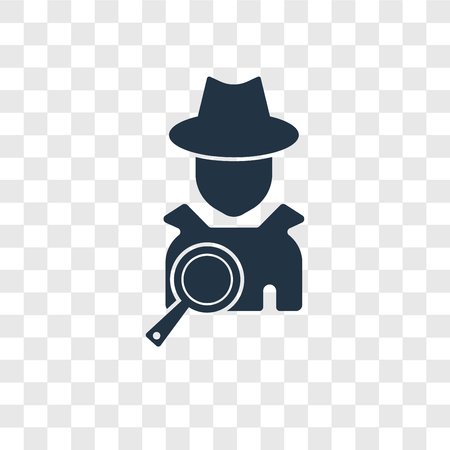 Detective vector icon isolated on transparent background, Detective transparency logo concept Illustration