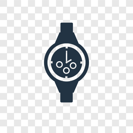 Wristwatch vector icon isolated on transparent background, Wristwatch transparency logo concept