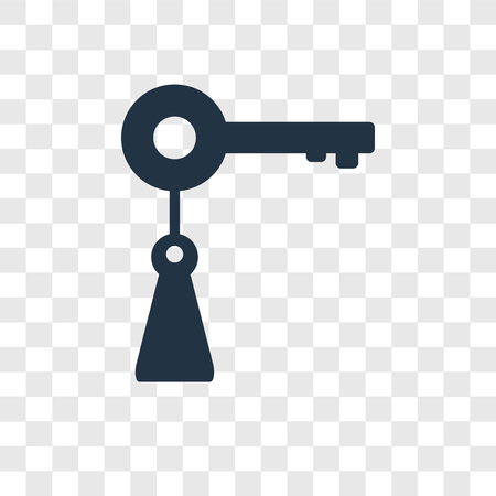 Key vector icon isolated on transparent background, Key transparency logo concept