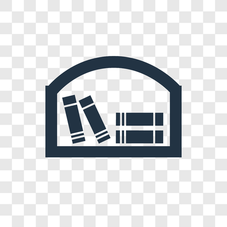 Bookshelf vector icon isolated on transparent background, Bookshelf transparency logo concept