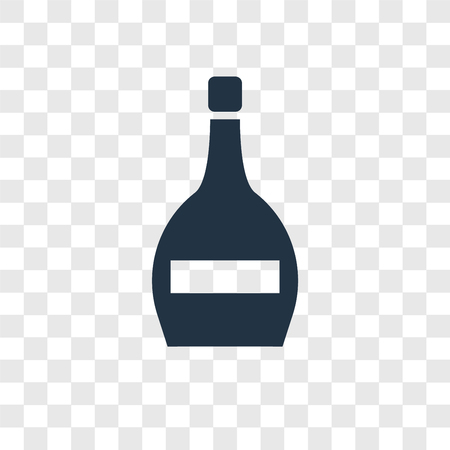 Wine bottle vector icon isolated on transparent background, Wine bottle transparency logo concept