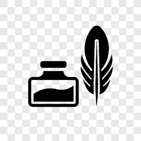 Feather and Ink vector icon isolated on transparent background, Feather and Ink transparency logo concept Illustration