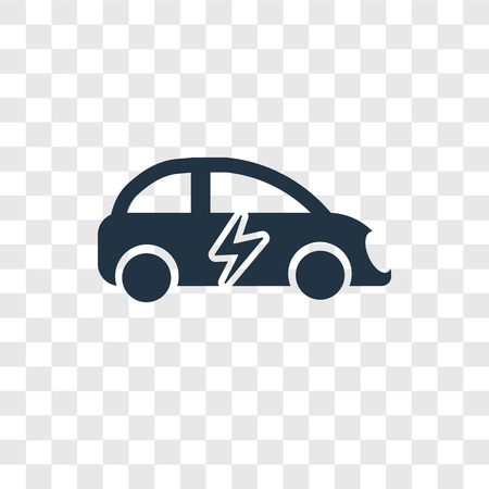 Electric car vector icon isolated on transparent background, Electric car transparency logo concept Ilustração