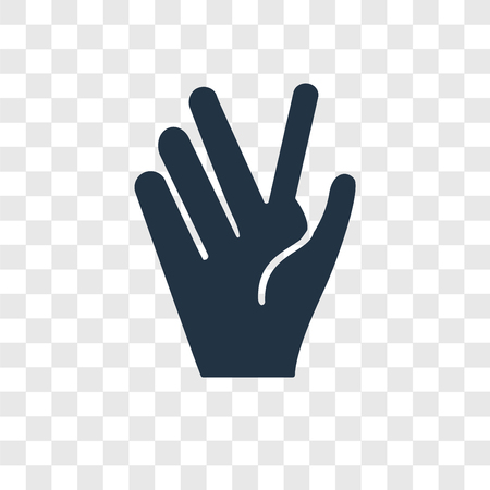 Vulcan salute vector icon isolated on transparent background, Vulcan salute transparency logo concept