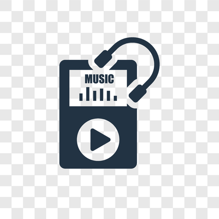 Music player vector icon isolated on transparent background, Music player transparency logo concept Foto de archivo - 112442639