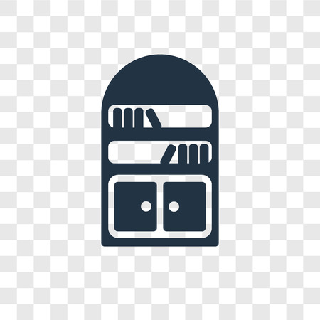 Bookshelve vector icon isolated on transparent background, Bookshelve transparency logo concept