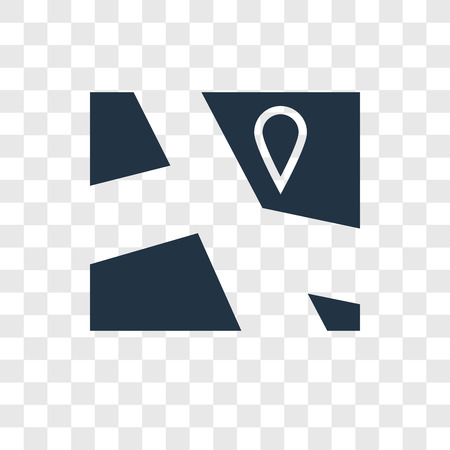 Map vector icon isolated on transparent background, Map transparency logo concept