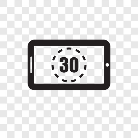 Digital display 30 vector icon isolated on transparent background, Digital display 30 transparency logo concept  イラスト・ベクター素材