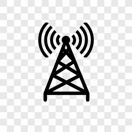 Icono de vector de antena aislado sobre fondo transparente, concepto de logo de transparencia de antena