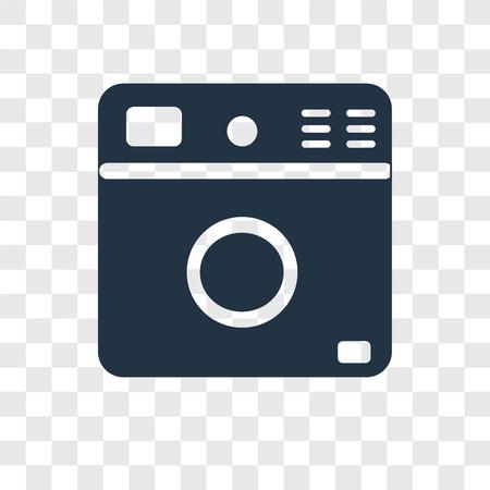 Washing machine vector icon isolated on transparent background, Washing machine transparency logo concept Standard-Bild - 112445861