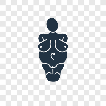 Venus of willendorf vector icon isolated on transparent background, Venus of willendorf transparency logo concept Vettoriali