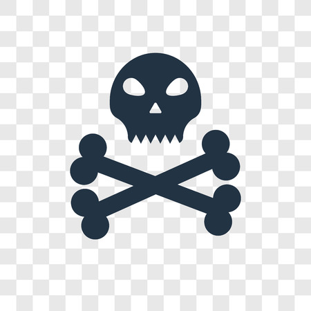 Skull and bones vector icon isolated on transparent background, Skull and bones transparency logo concept Logo